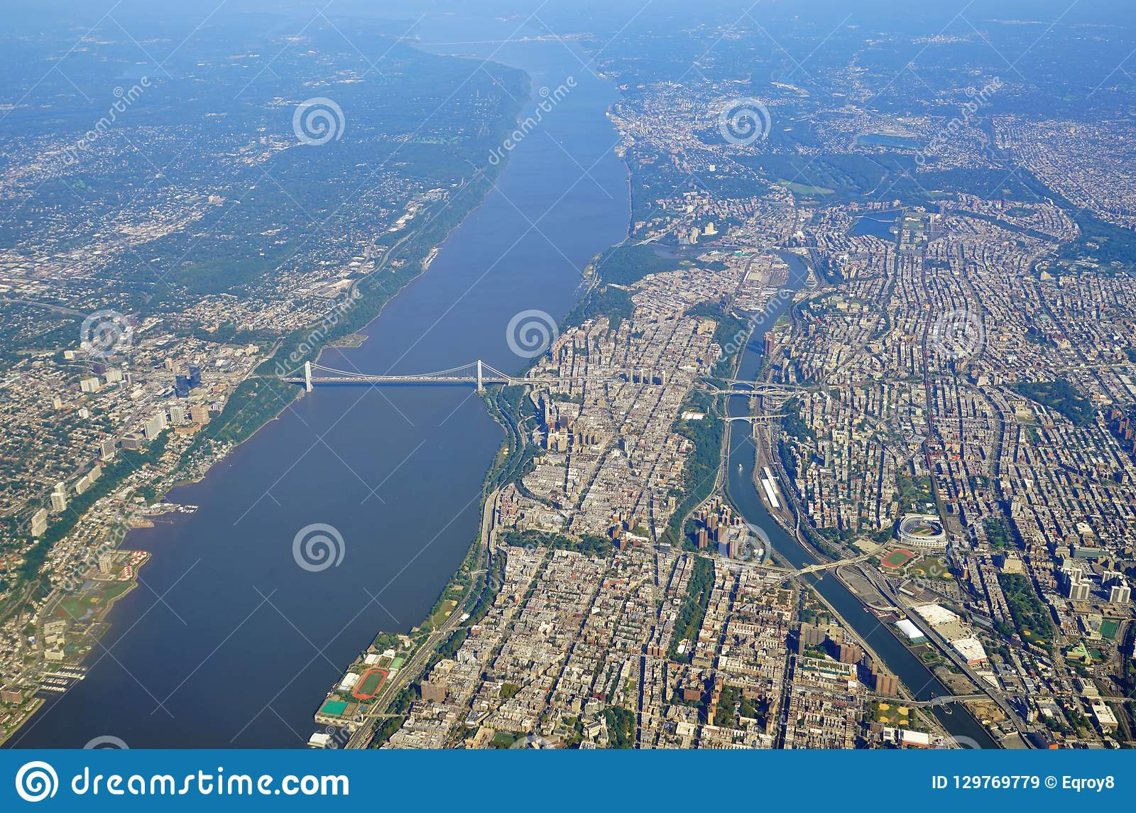 Aerial View Of The George Washington Bridge Between New ...