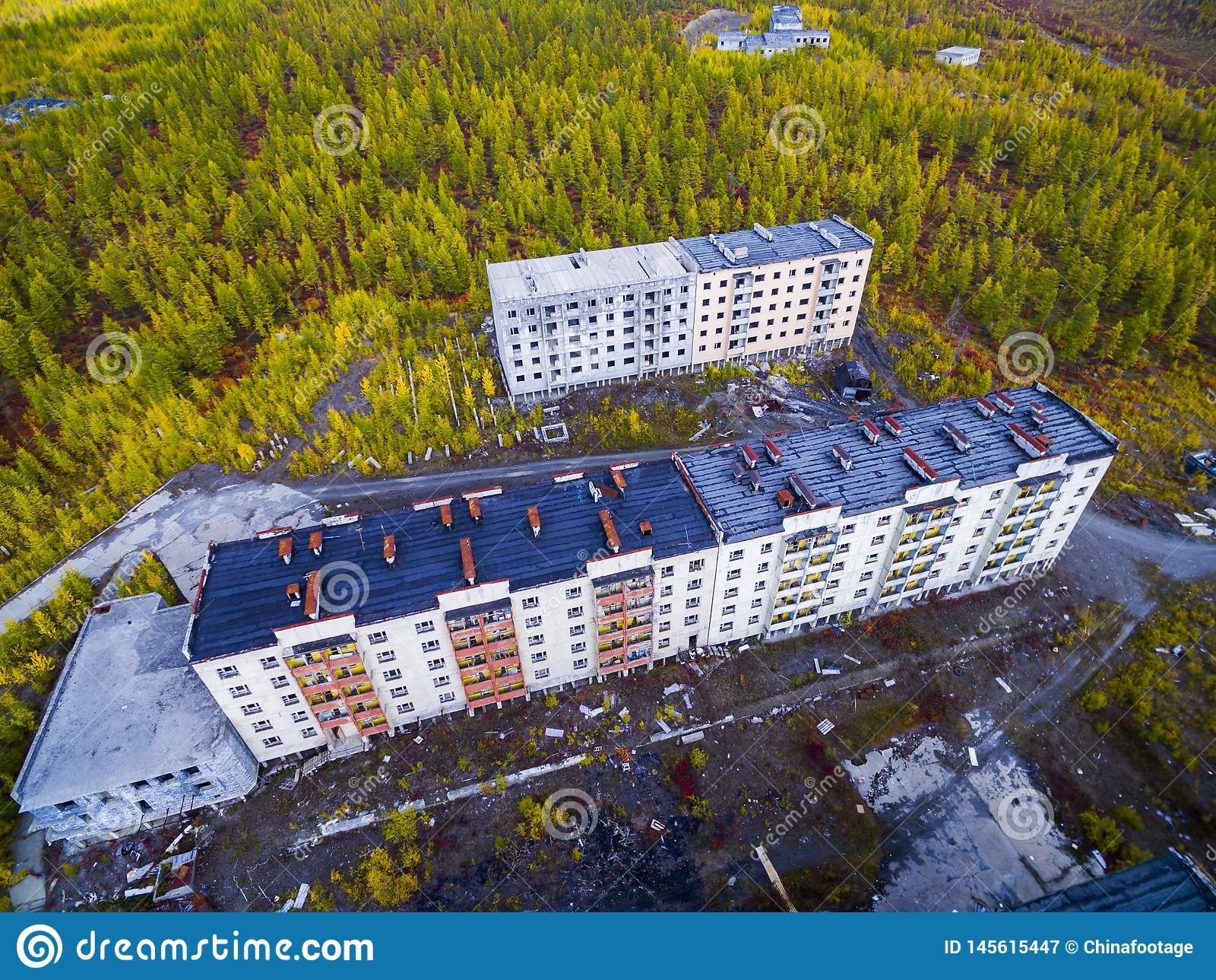Aerial view of The ghost town Kadykchan, Kolyma, Magadan region