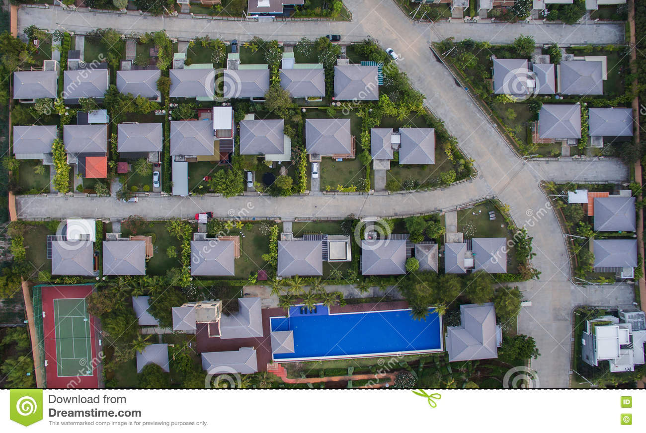 Aerial View Of Good Environment House In Good Development