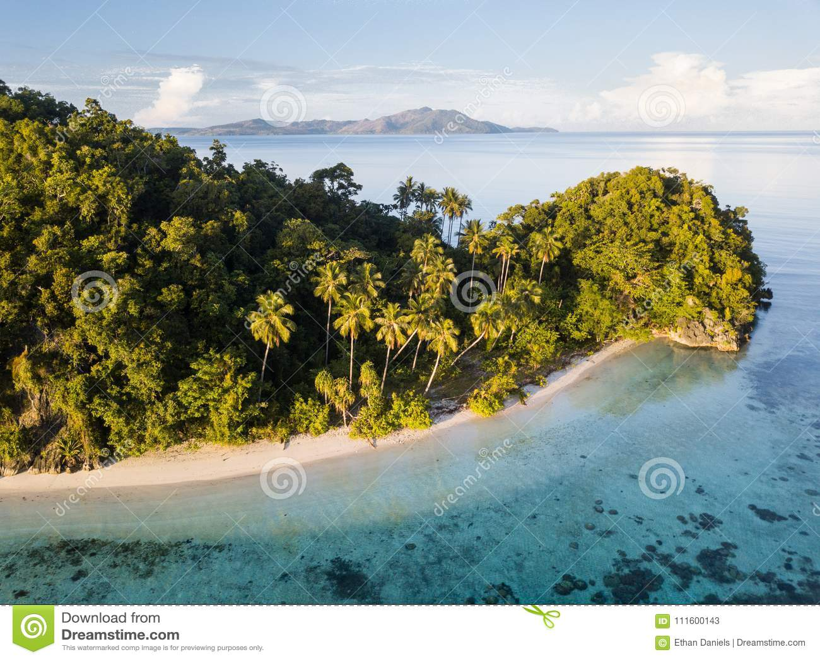 Aerial View of Idyllic Island and Beach in Raja Ampat