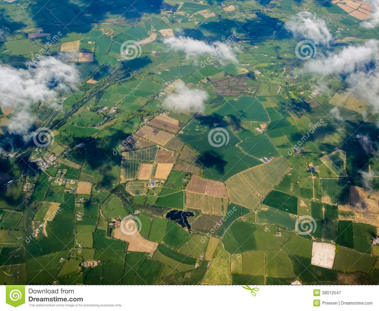 Aerial view of green fields in Porto Portugal