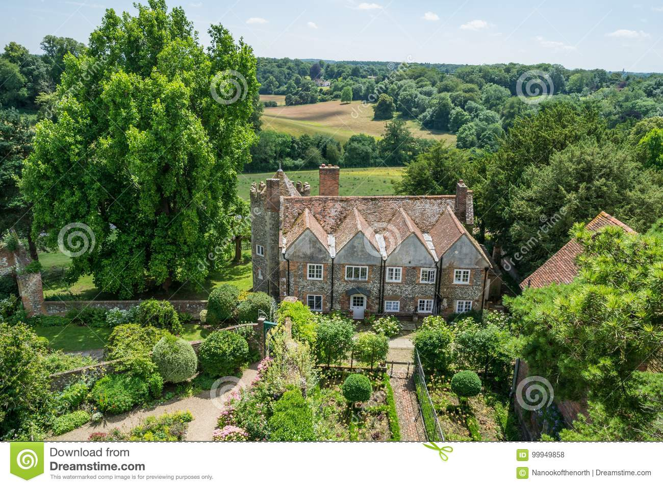 Aerial view of Greys Court, England