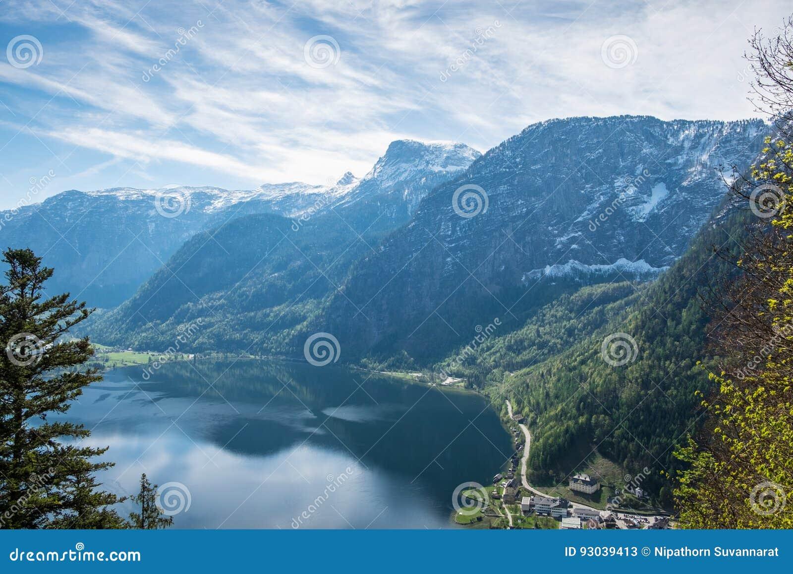 Aerial View is hallstatt city background mountain Alps