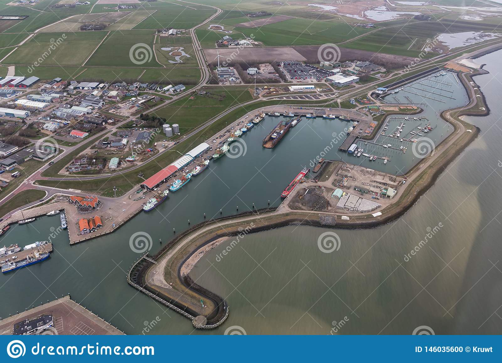 Aerial view harbor Oudeschild at Dutch island Texel