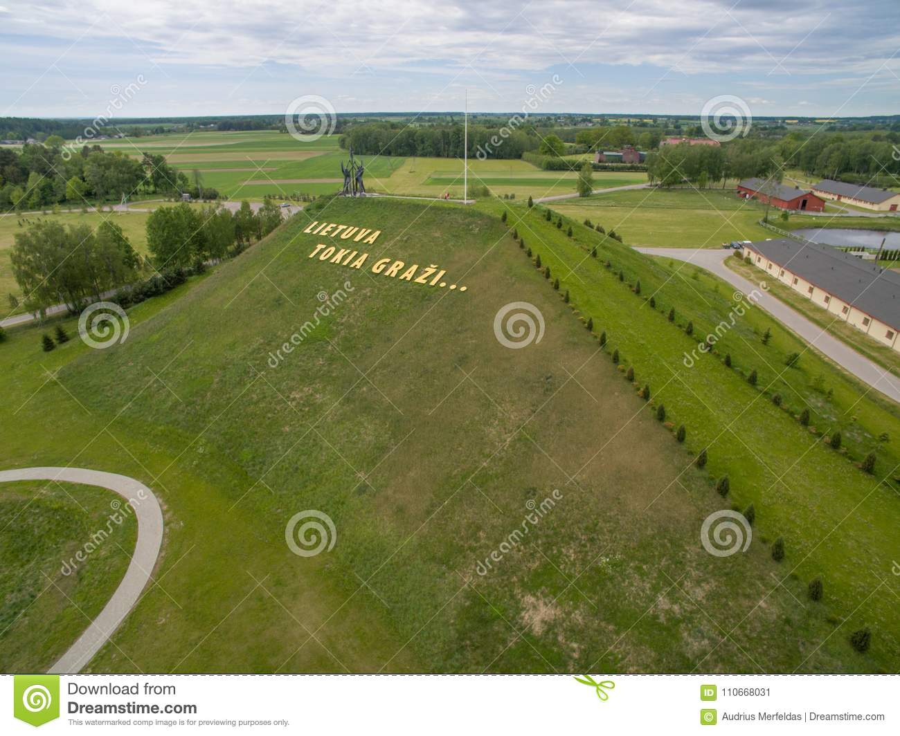 Aerial view of Harmony park in Lithuania and letters `Lithuania
