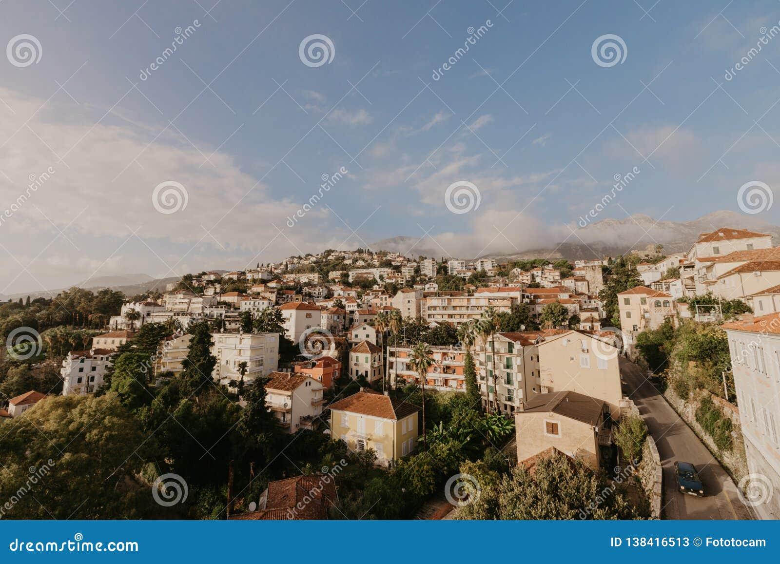 Aerial view of Herceg Novi town, marina and Venetian Forte Mare, Boka Kotorska bay of Adriatic sea, Montenegro - Image