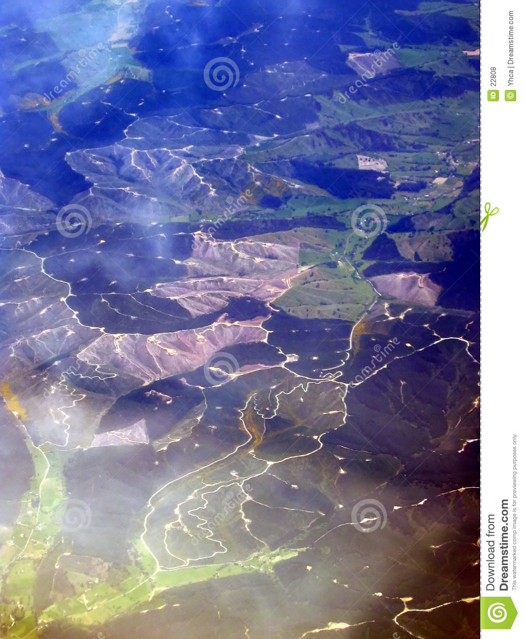 Aerial view of hills & rivers