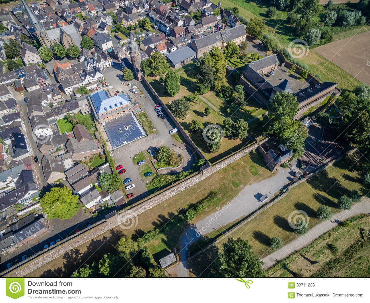Aerial View Of The Historic Town Zons Stock Photo
