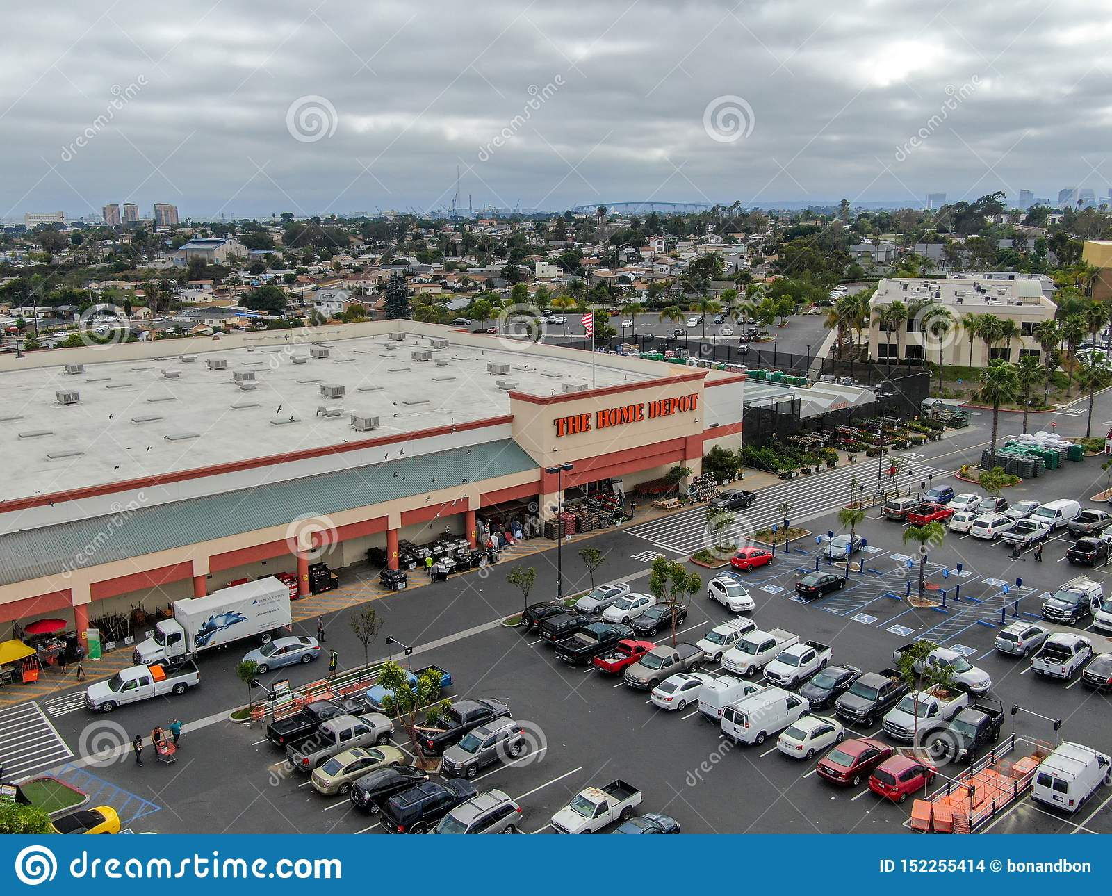 Aerial View Of The Home Depot Store And Parking Lot In San ...