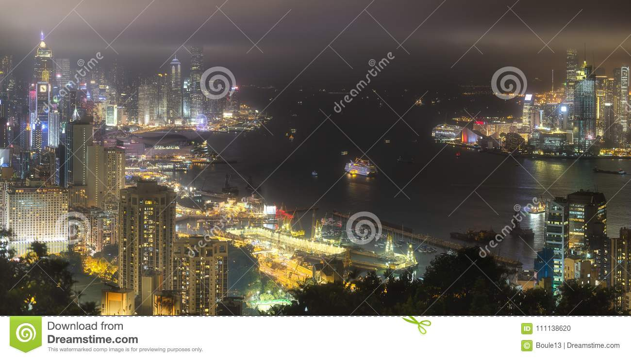 Aerial view of Hong Kong skyline and harbour