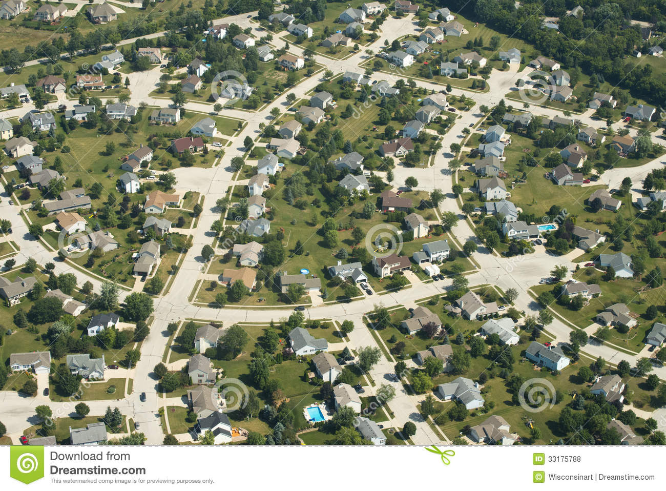 Aerial View Of Houses Homes Suburb Royalty Free Stock