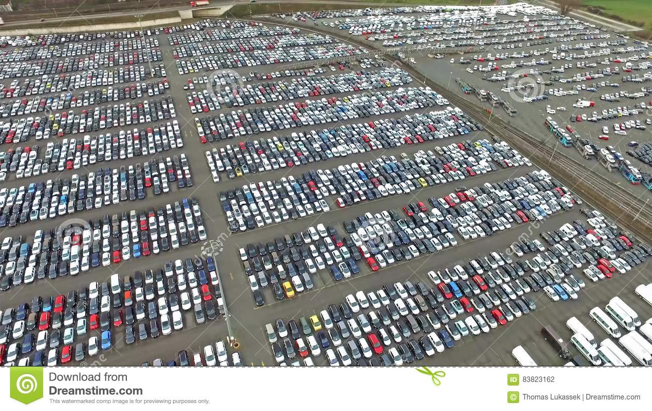 Aerial View Of A Huge Parking Lot Stock Footage - Video of many ...