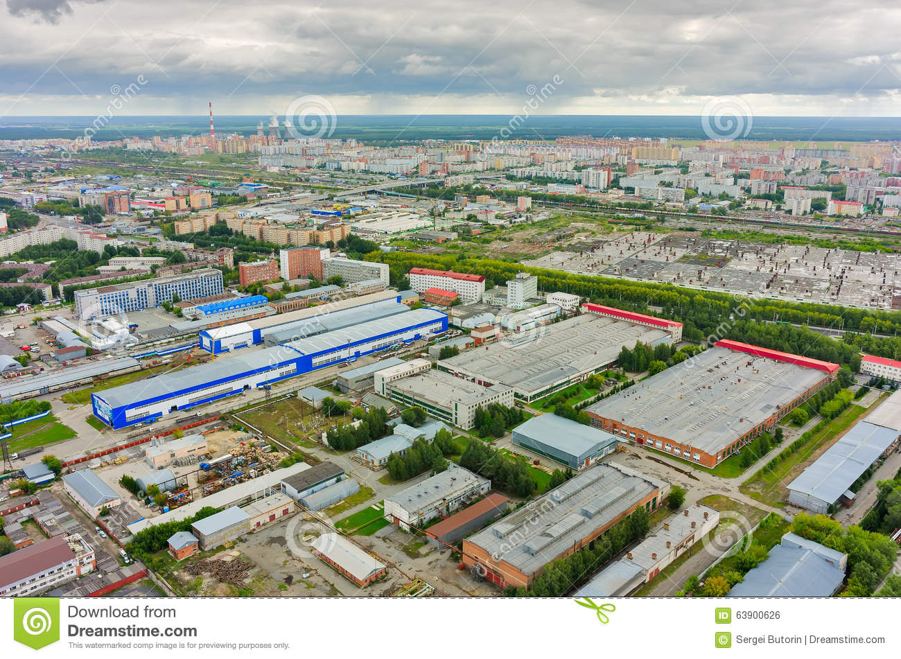 Aerial View Of Industrial Area Of Tyumen. Russia Stock ...