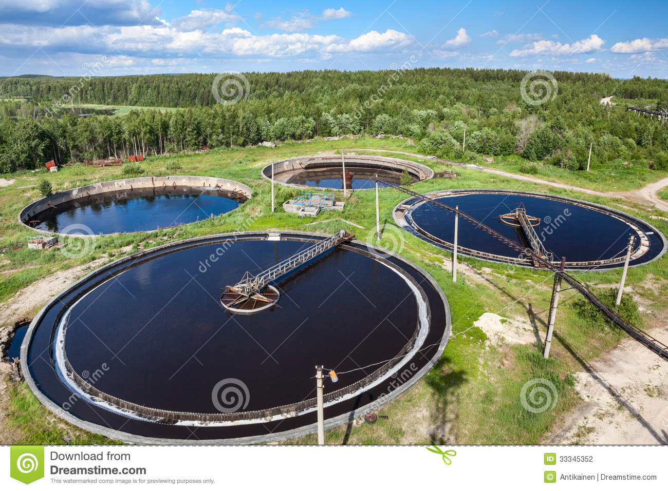 Download Aerial View Of Industrial Sewage Treatment Plant Stock Photo - Image of plant, circular: 33345352