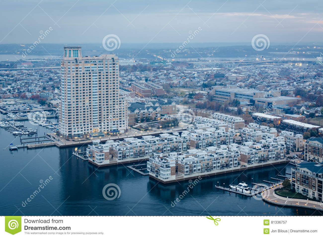 Aerial view of the Inner Harbor and Federal Hill, in Baltimore,