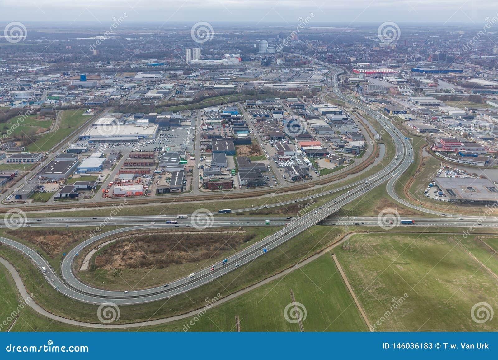 Aerial view interchange highway and overpass in Dutch city Groningen