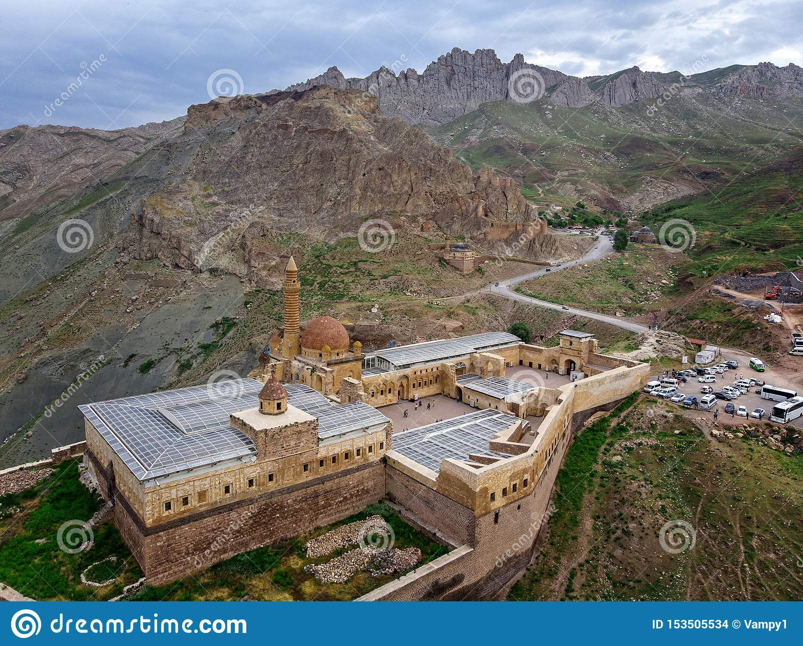 Aerial view of Ishak Pasha Palace is a semi-ruined palace and administrative complex located in the Dogubeyazit, Agri. Turkey