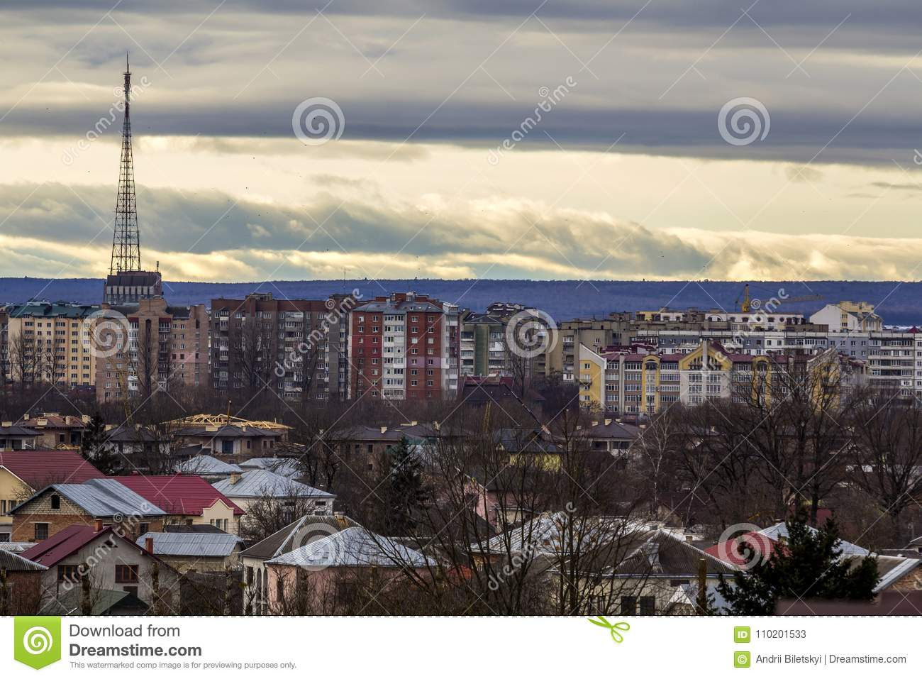 Aerial view of Ivano-Frankivsk city, Ukraine with high buildings