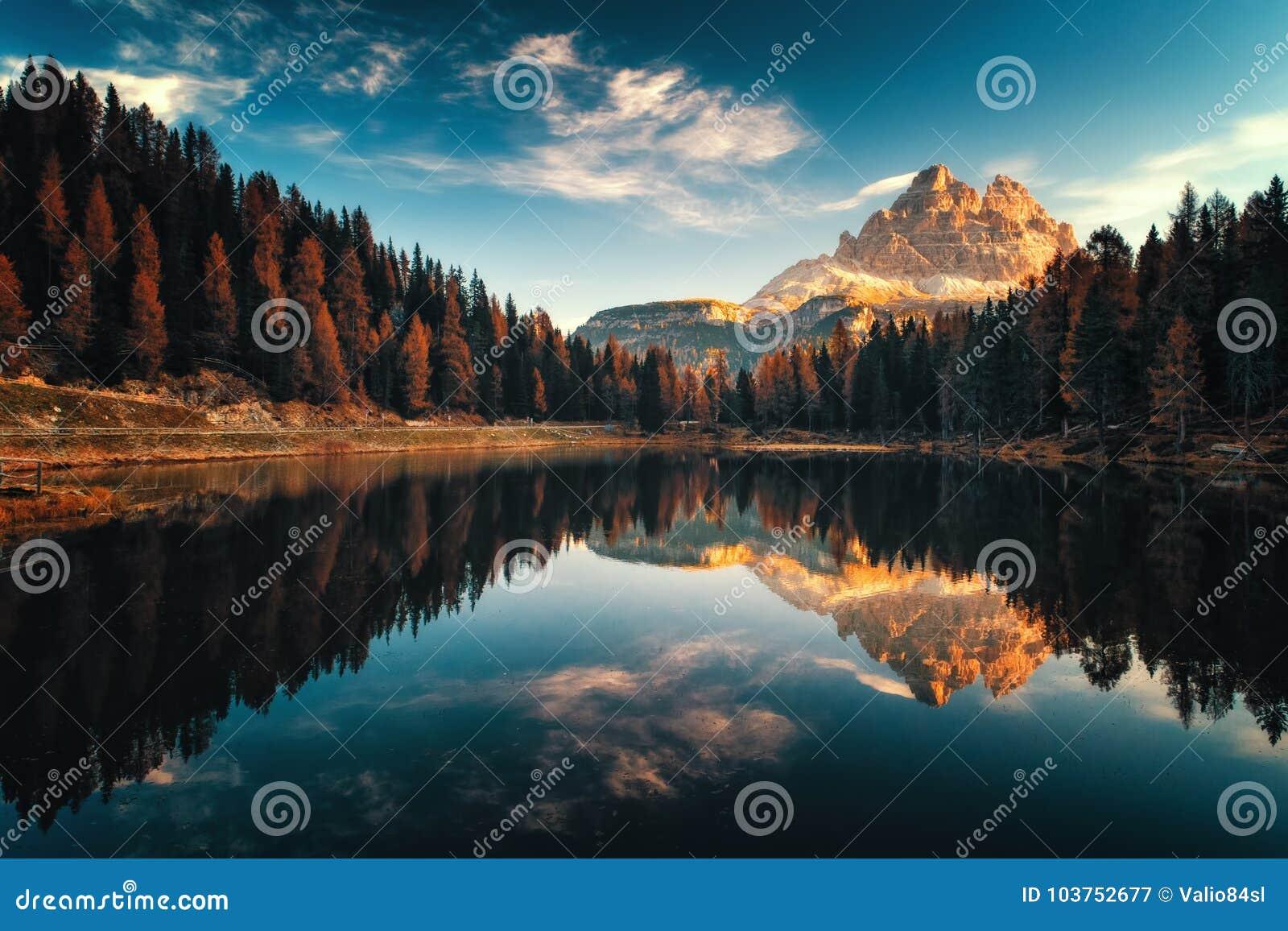 Aerial view of Lago Antorno, Dolomites, Lake mountain landscape