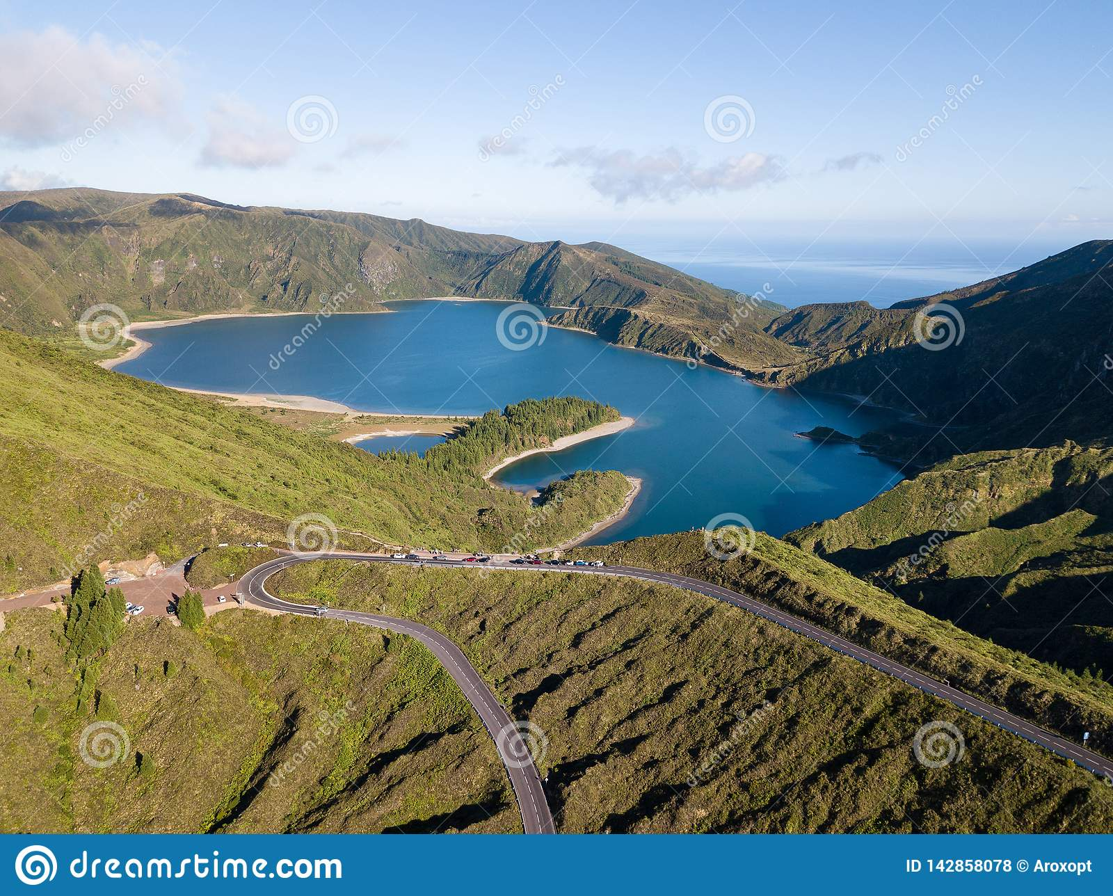 Aerial View Of Lagoa Do Fogo A Volcanic Lake In Sao Miguel
