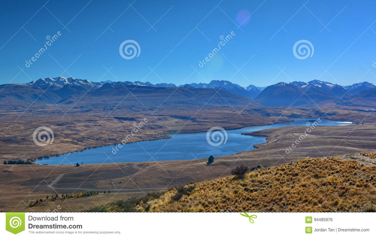 Aerial view of Lake Alexandrina, surrounded by mountain ranges in Canterbury