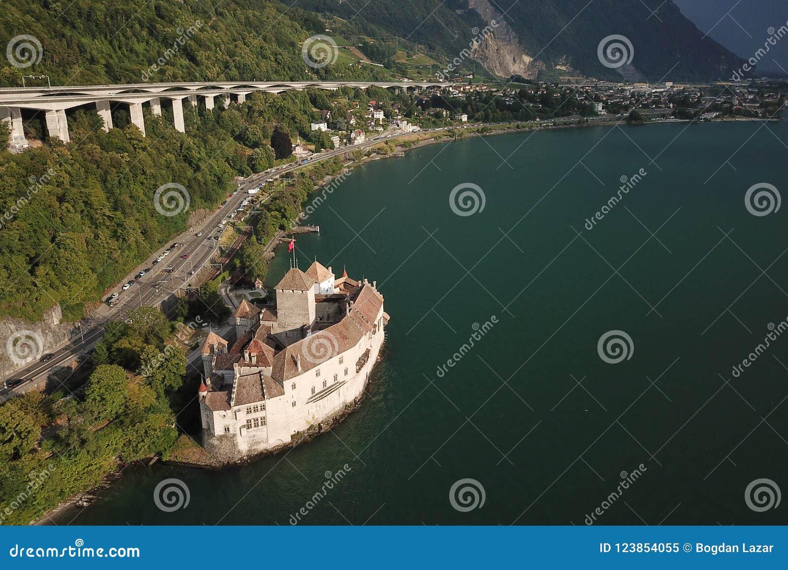 Aerial view Chateau de Chillon Common , Switzerland