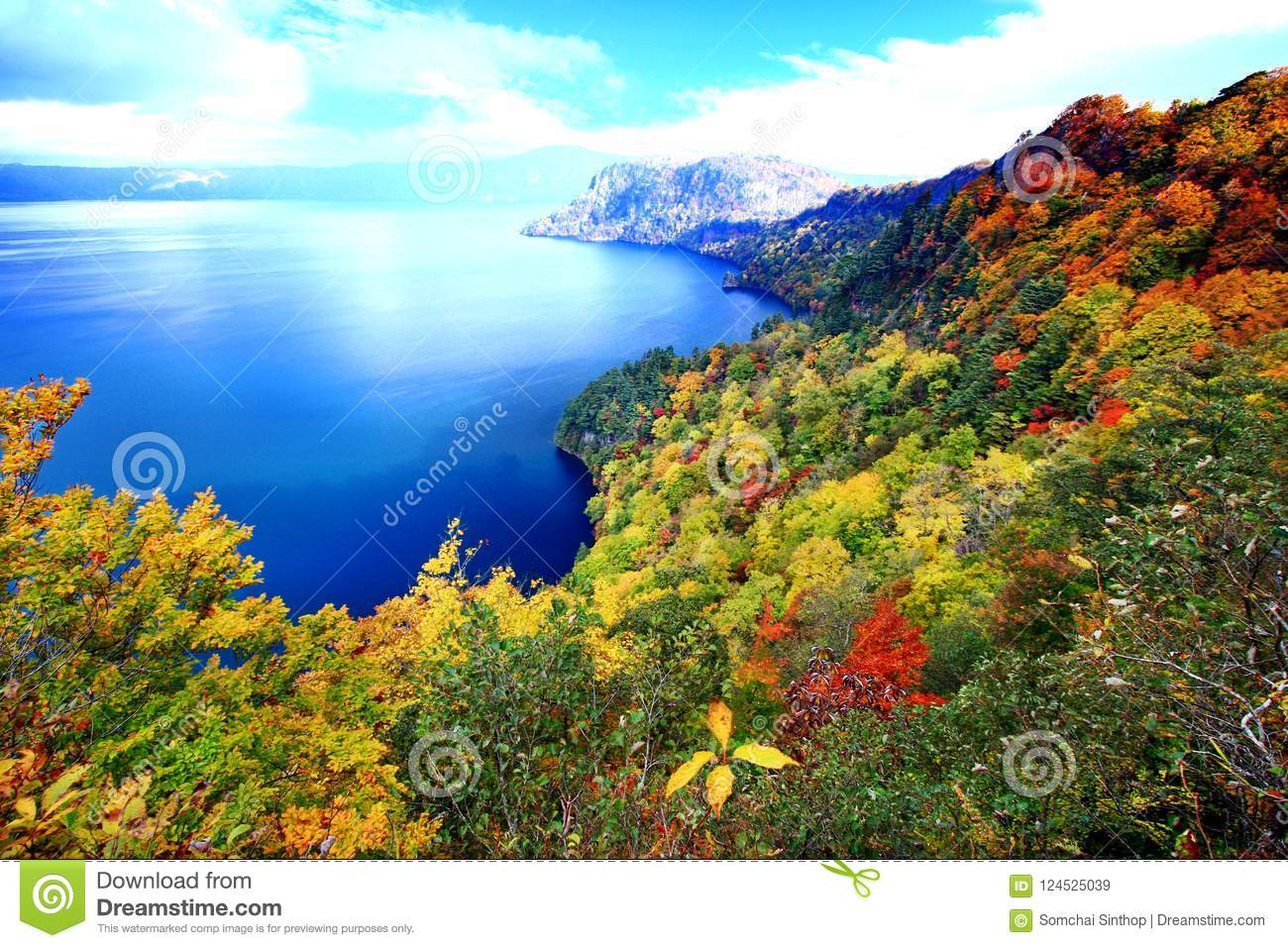 Aerial view of Lake Towada with colorful autumn foliage
