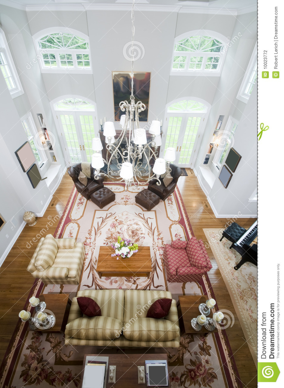 Aerial View Large Luxury Living Room Stock Photo Image Of Large