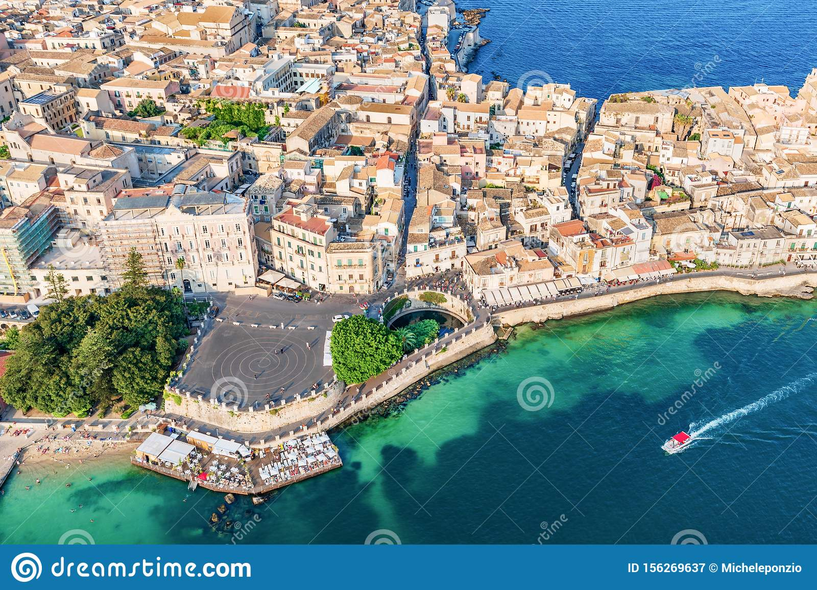 Aerial view of the Large square and source Arethusa in Ortigia, Syracuse Sicily
