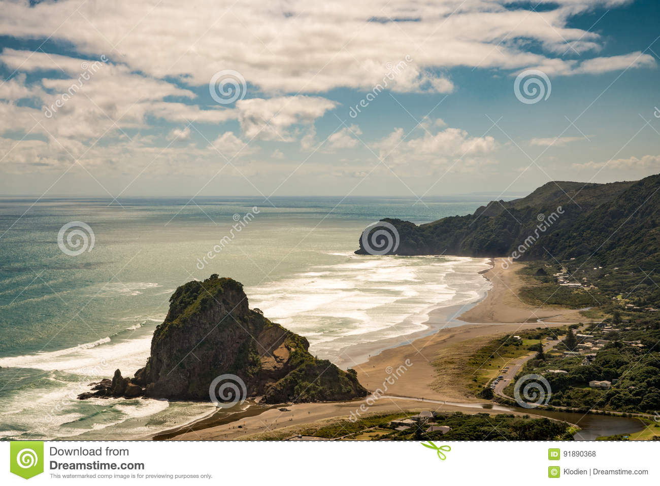 Aerial view on the lion rock on Piha beach.