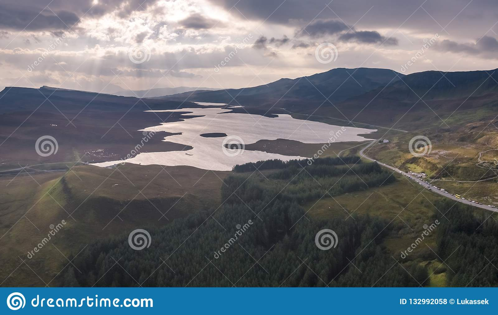 Aerial view of the Loch Leathan close to the Old Man of Storr, Isle of Skye, Scotland