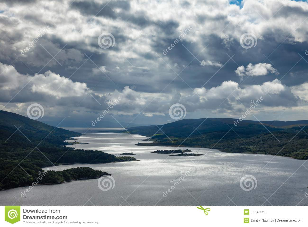 Aerial view of Loch Riddon on Cowal peninsula Argyll and Bute Sc