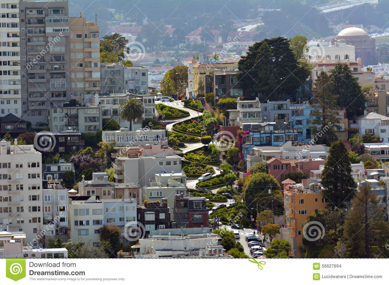 Assez Aerial View Of Lombard Street In San Francisco, California  VJ35