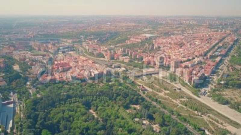 Aerial View Of Southwestern Part Of Madrid From Campo Del Moro Gardens Spain