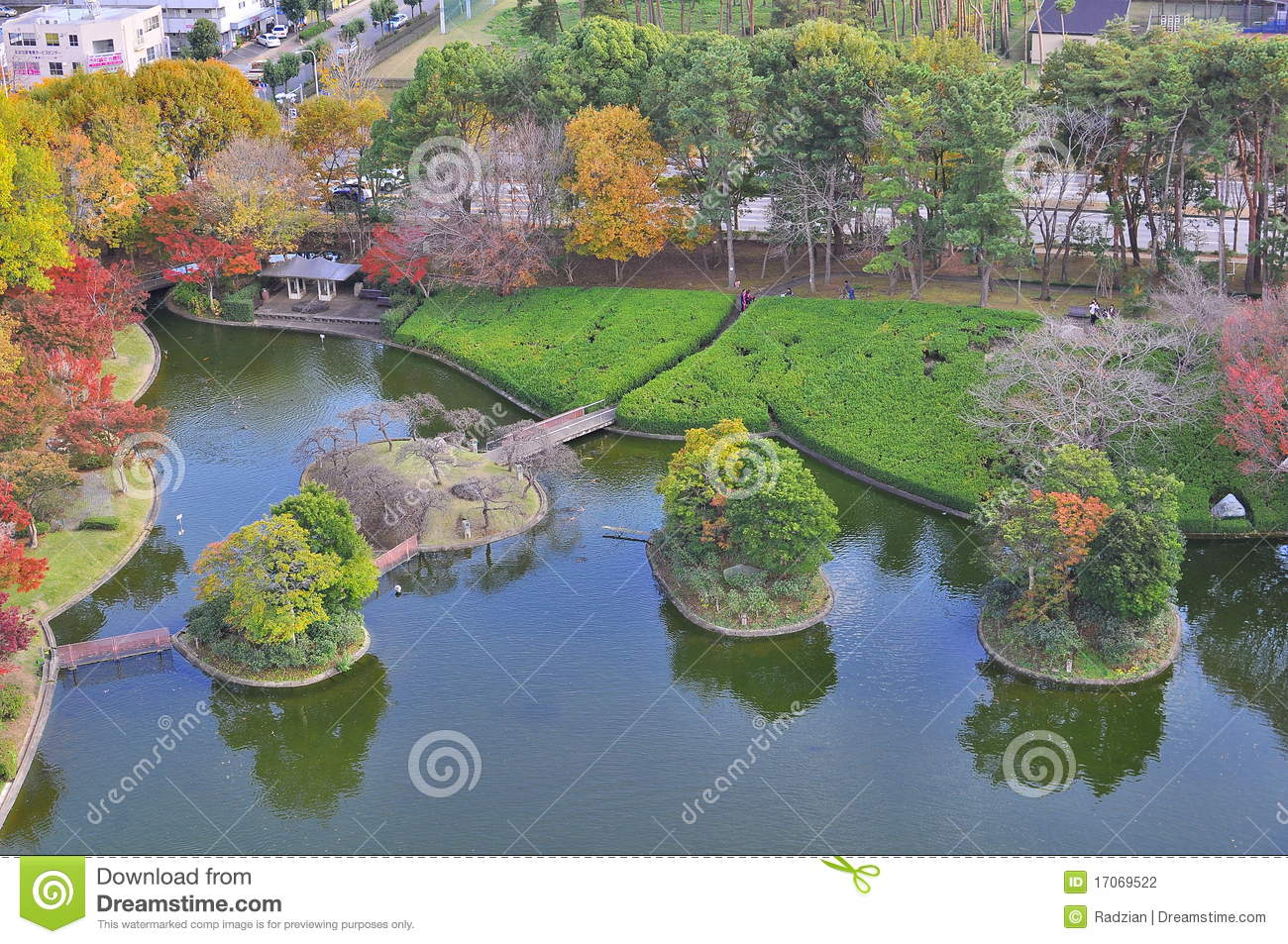 Aerial View Of Man Made Island In Autumn Stock Photography  Image