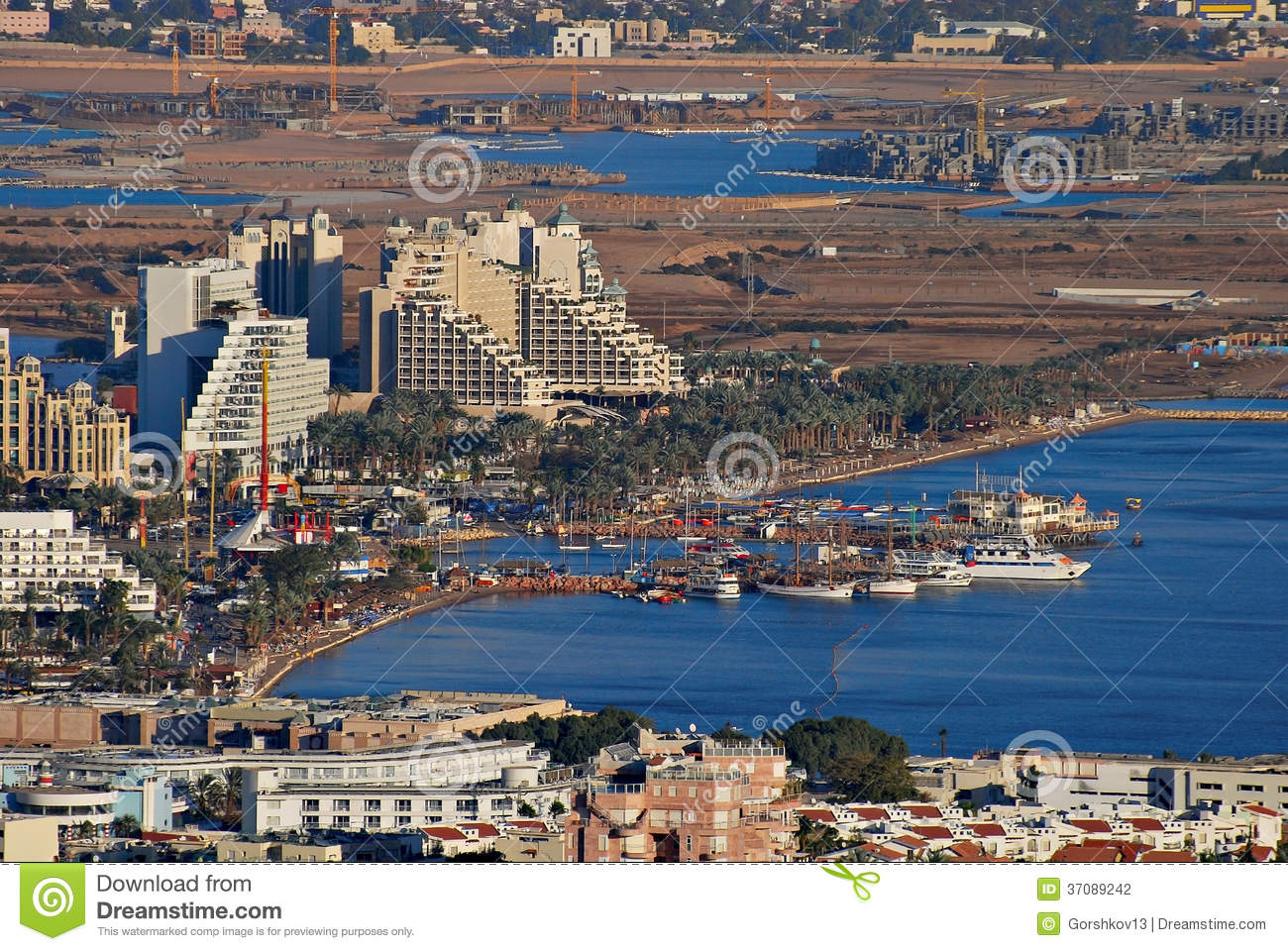 Aerial view on marina in Eilat and lagoon in Aqaba