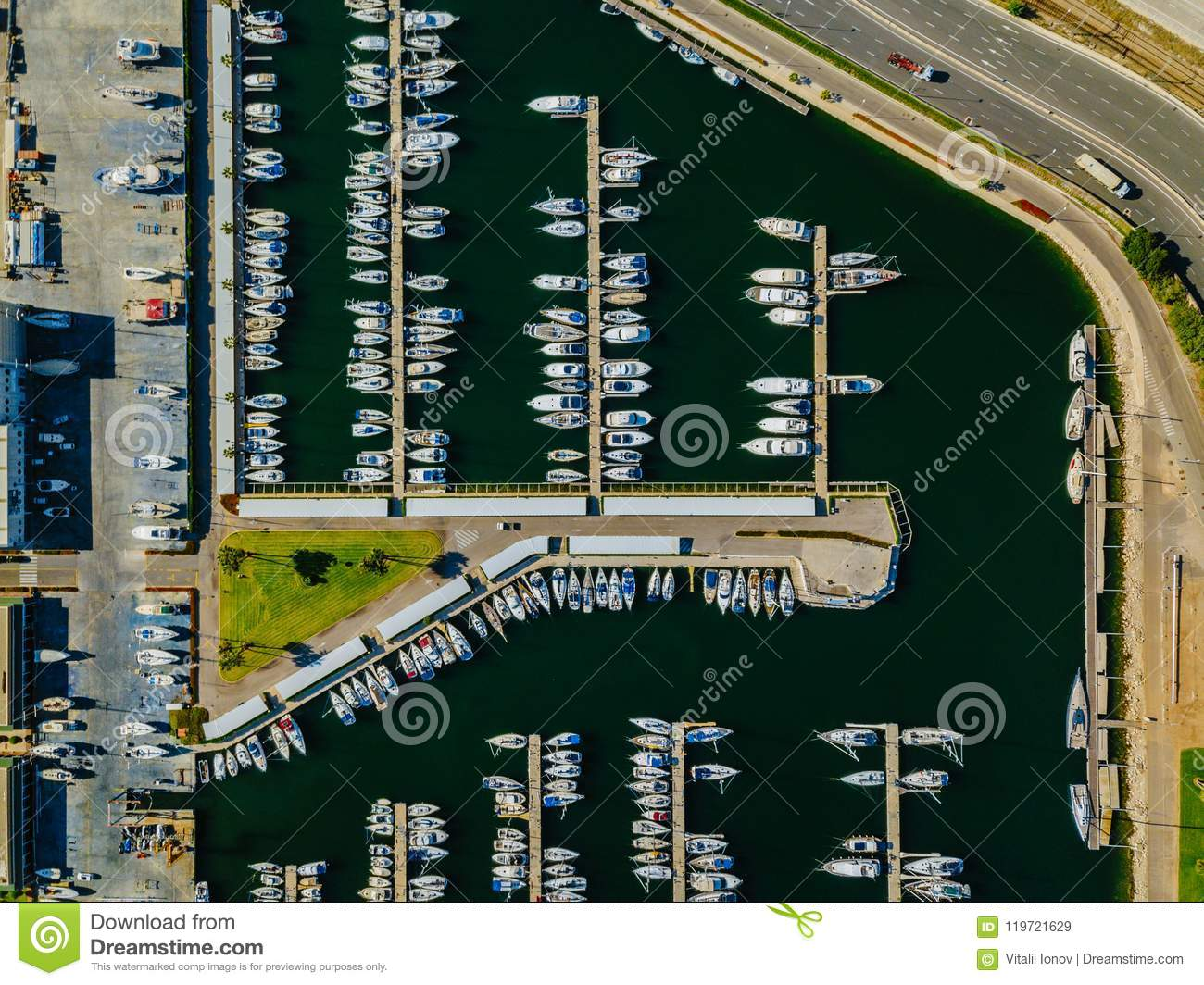 Aerial view of the marina with yachts in Valencia to the west of the commercial port.