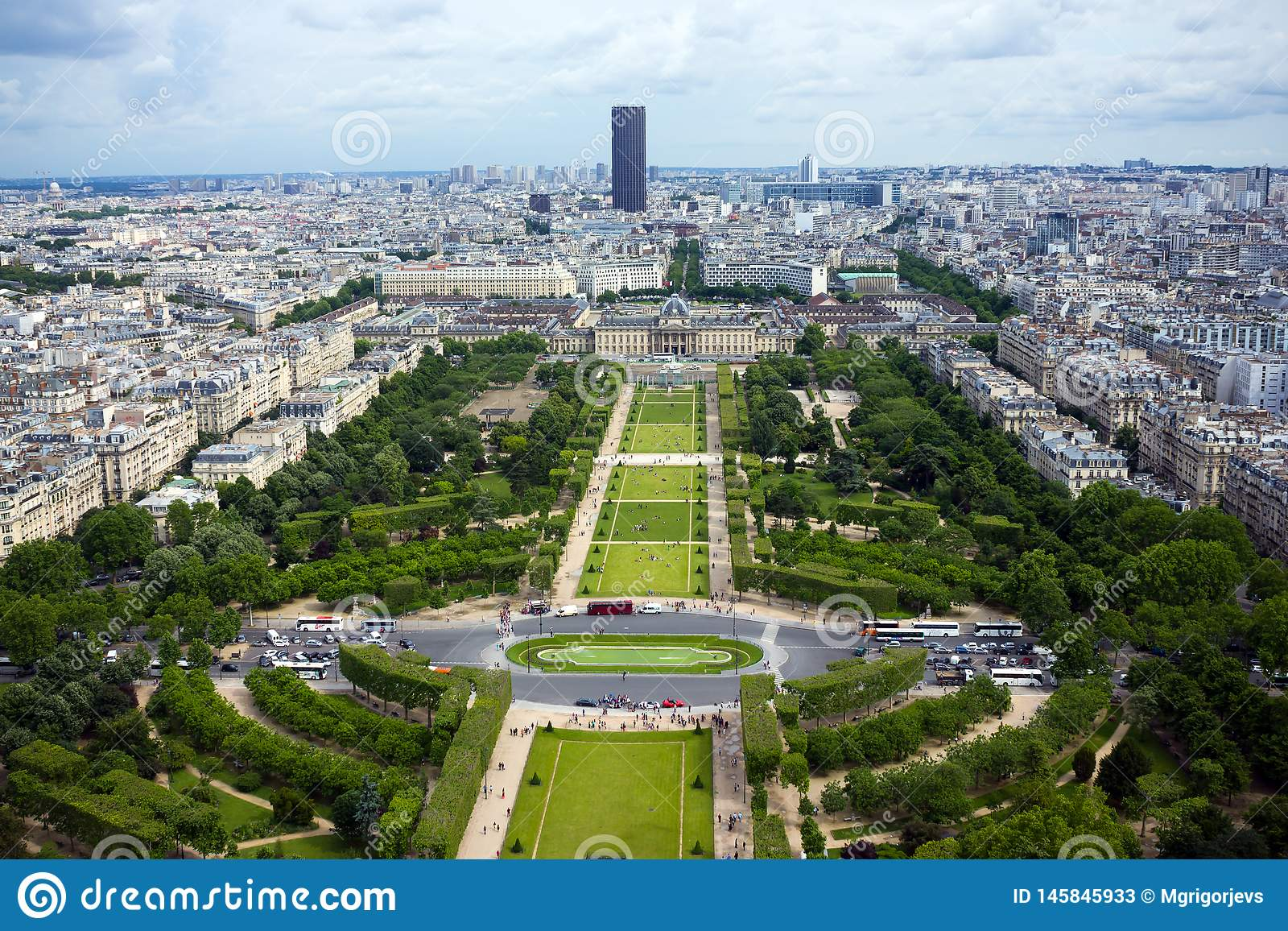 Aerial view on Mars fields and the Montparnasse building from Eiffel Tower in Paris, France, June 25, 2013.