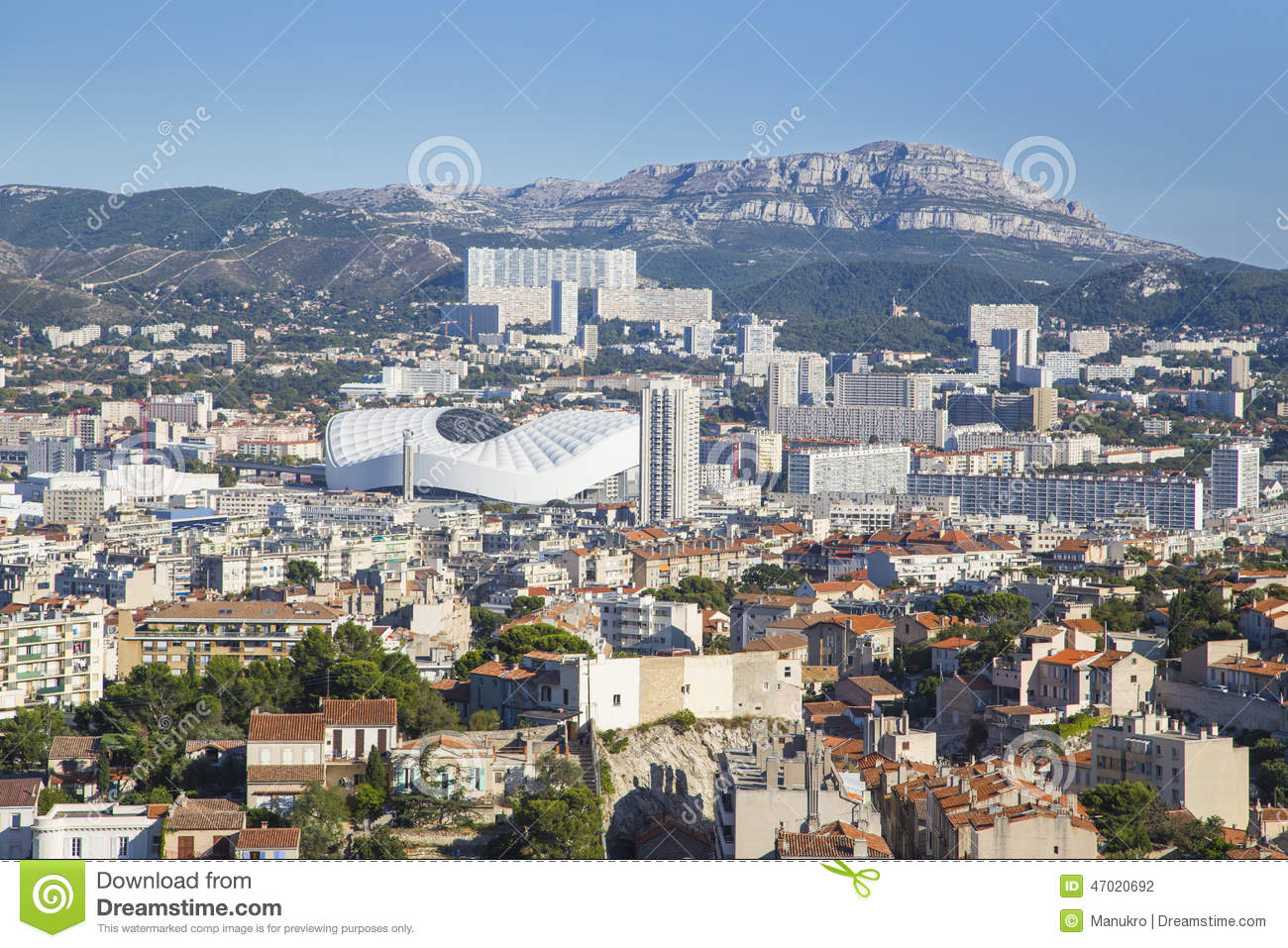 aerial view of marseille city and its stadium france. Black Bedroom Furniture Sets. Home Design Ideas