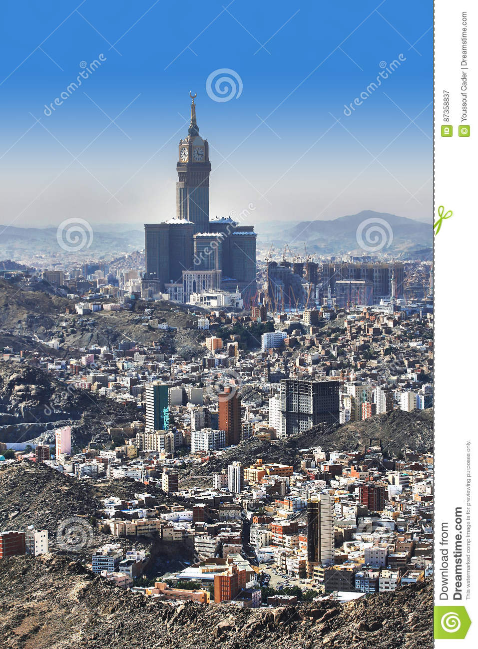 Aerial View Of Mecca Holy City In Saudia Arabia Stock Image Image Of Tower Desert 87358837