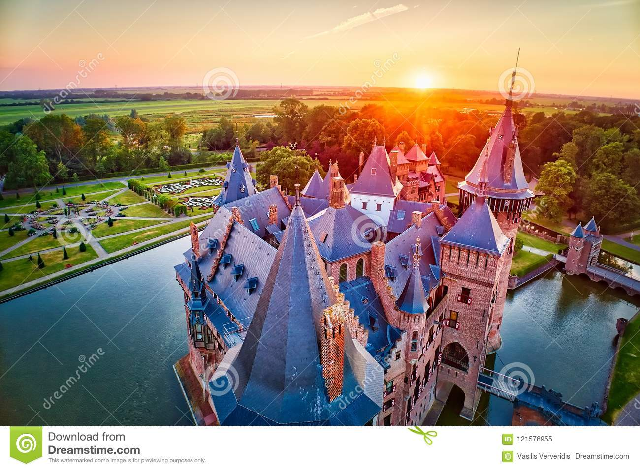 Aerial view of the medieval castle De Haar at sunset in Netherlands, Europe