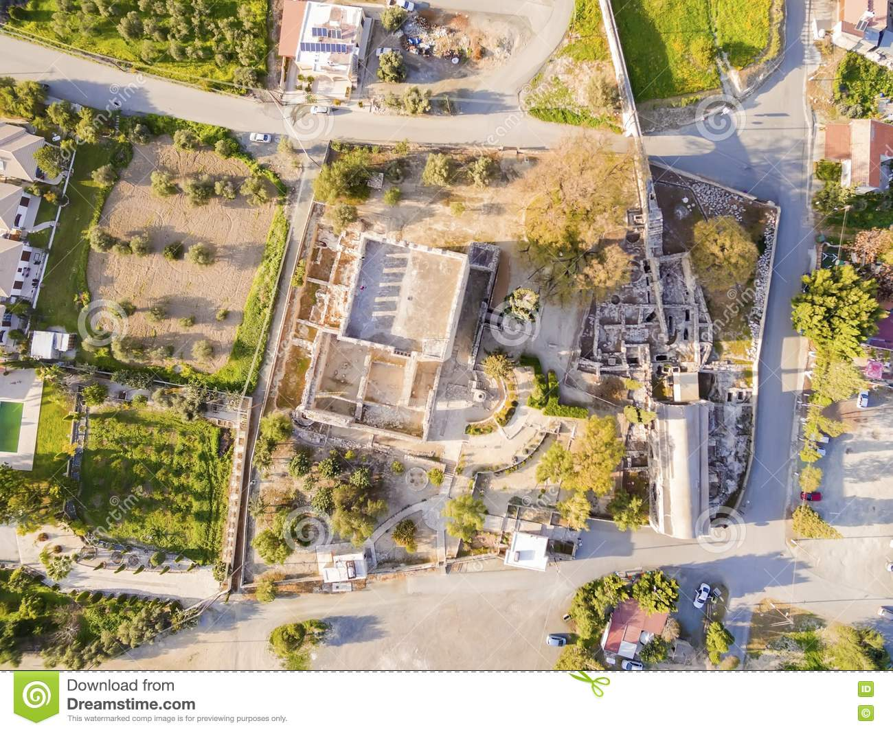 Aerial view of Medieval castle of Kolossi, Limassol, Cyprus