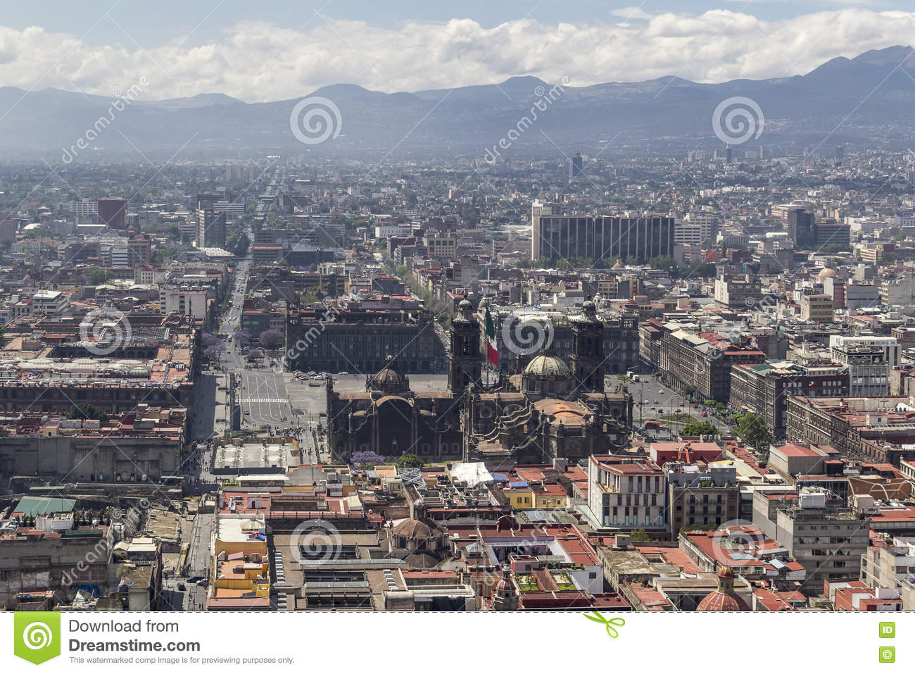 Aerial View Of Mexico City Cathedral And Central Plaza