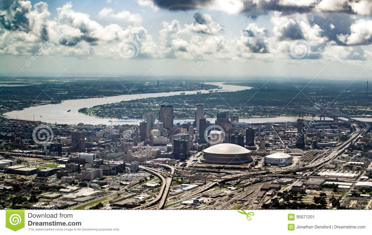 Aerial view of Mississippi river and Downtown, New Orleans, Louisiana