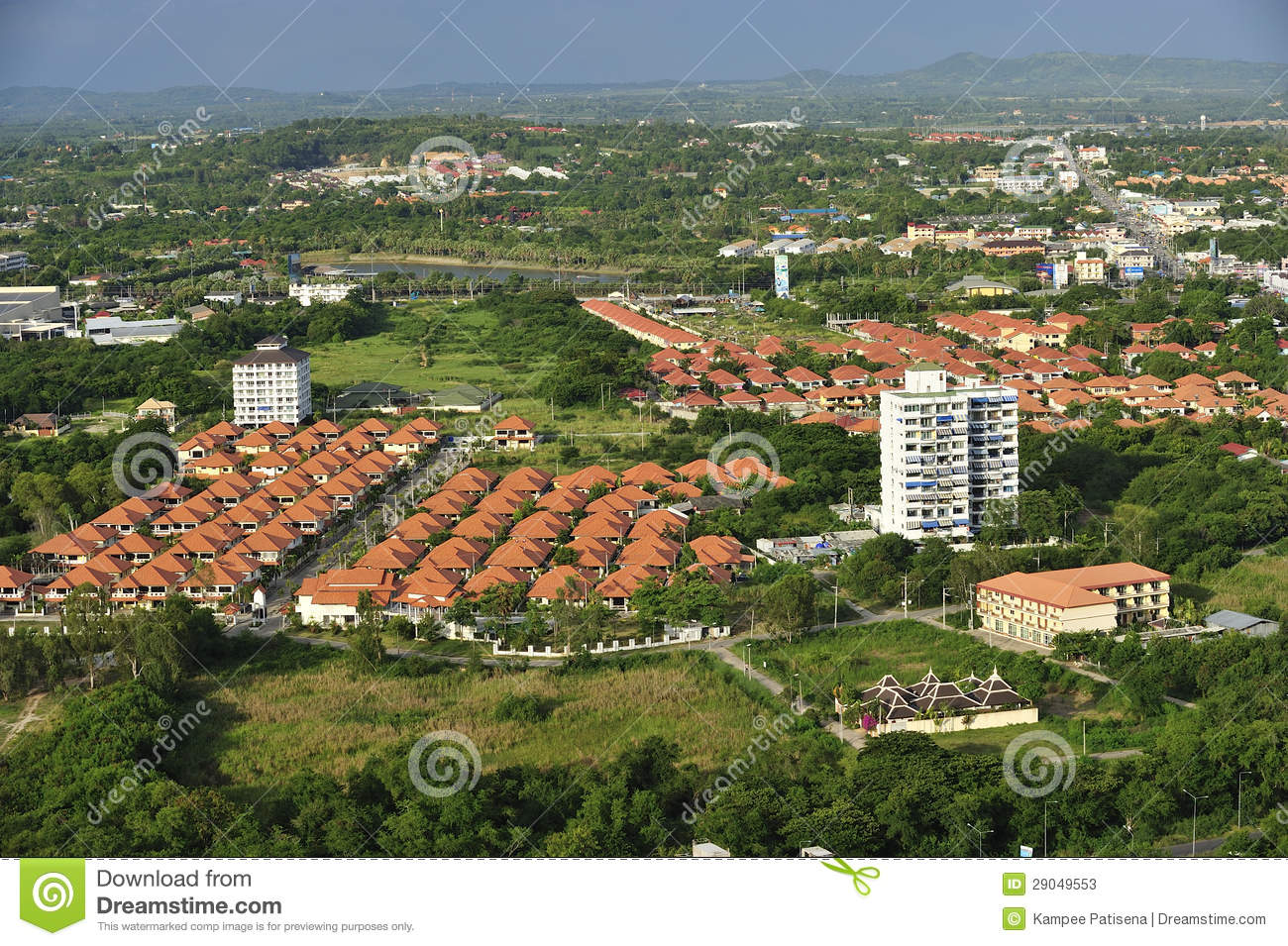 Aerial view of modern house complex jomtien beach for See images of my house