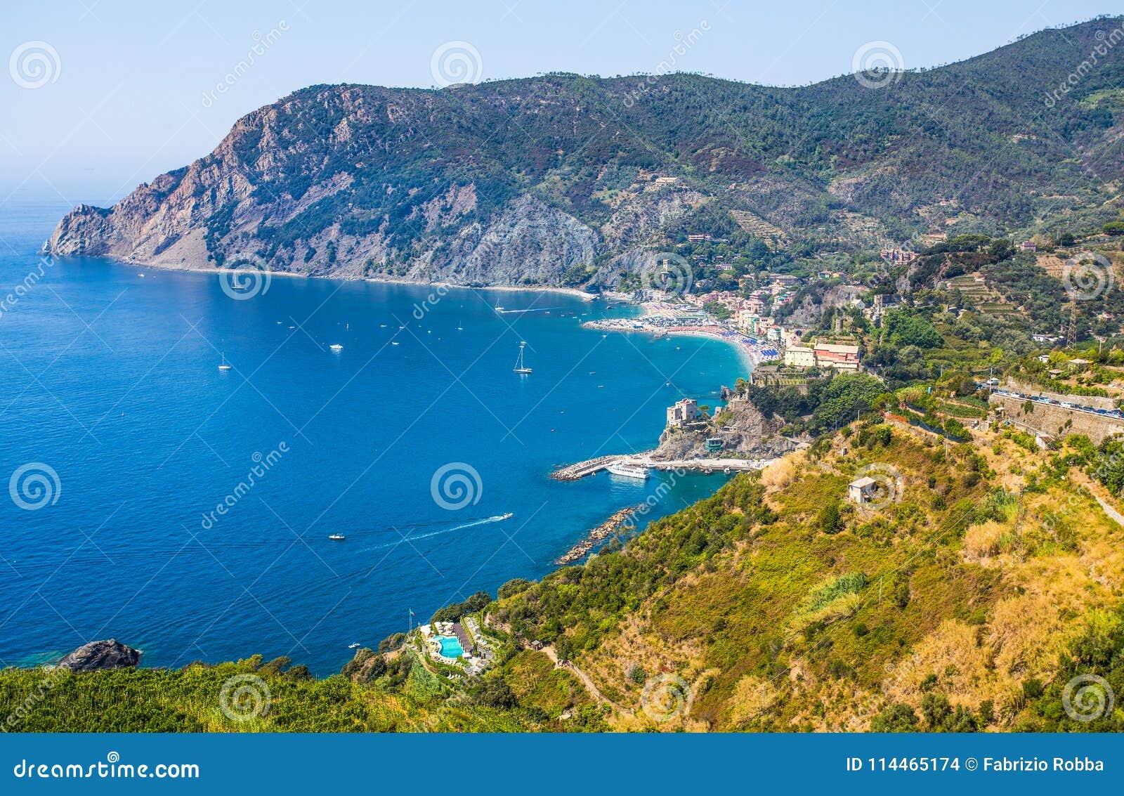 monterosso al mare in 5 terre, ligurian cost, mediterranean sea, la