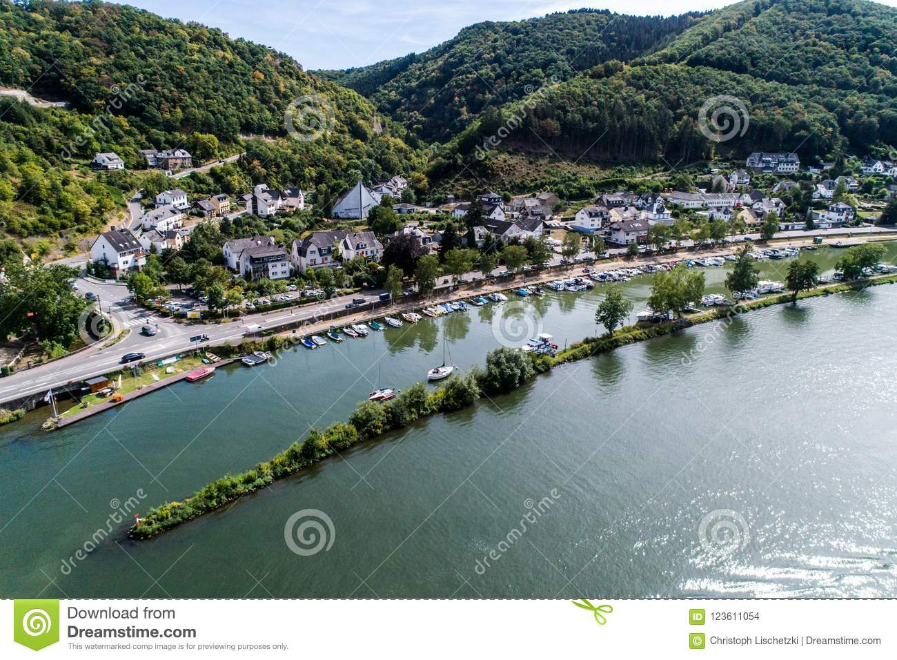 Aerial view of the mosel village Brodenbach in Germany on a sunny summer day