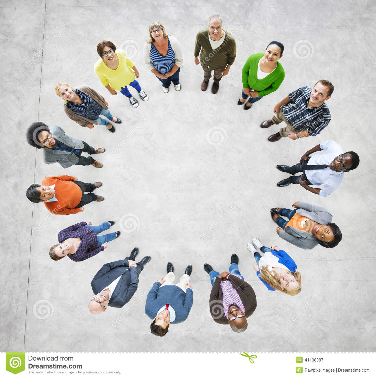 Aerial View Of Multiethnic People Forming Circle Stock ...