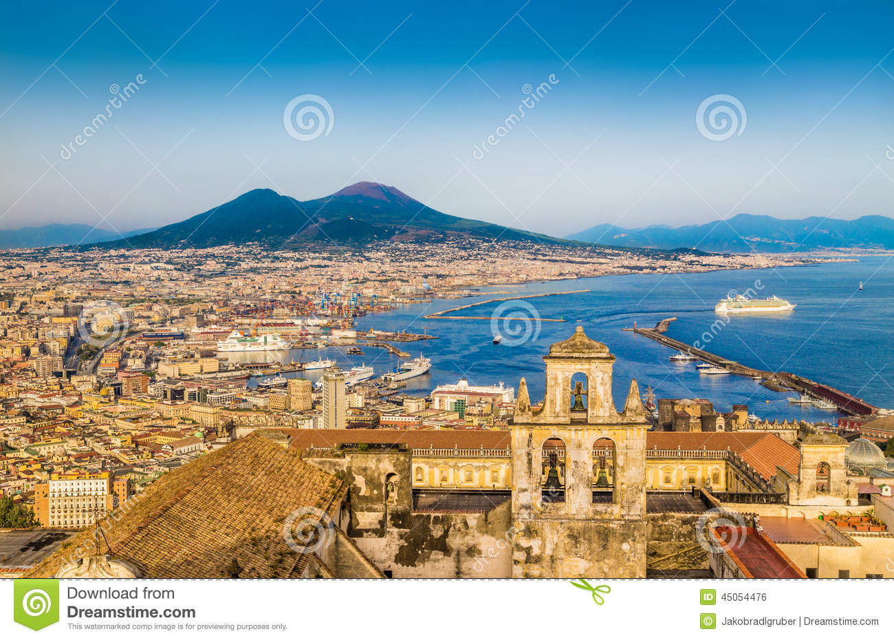 Aerial view of Naples with Mount Vesuvius at sunset, Campania, Italy