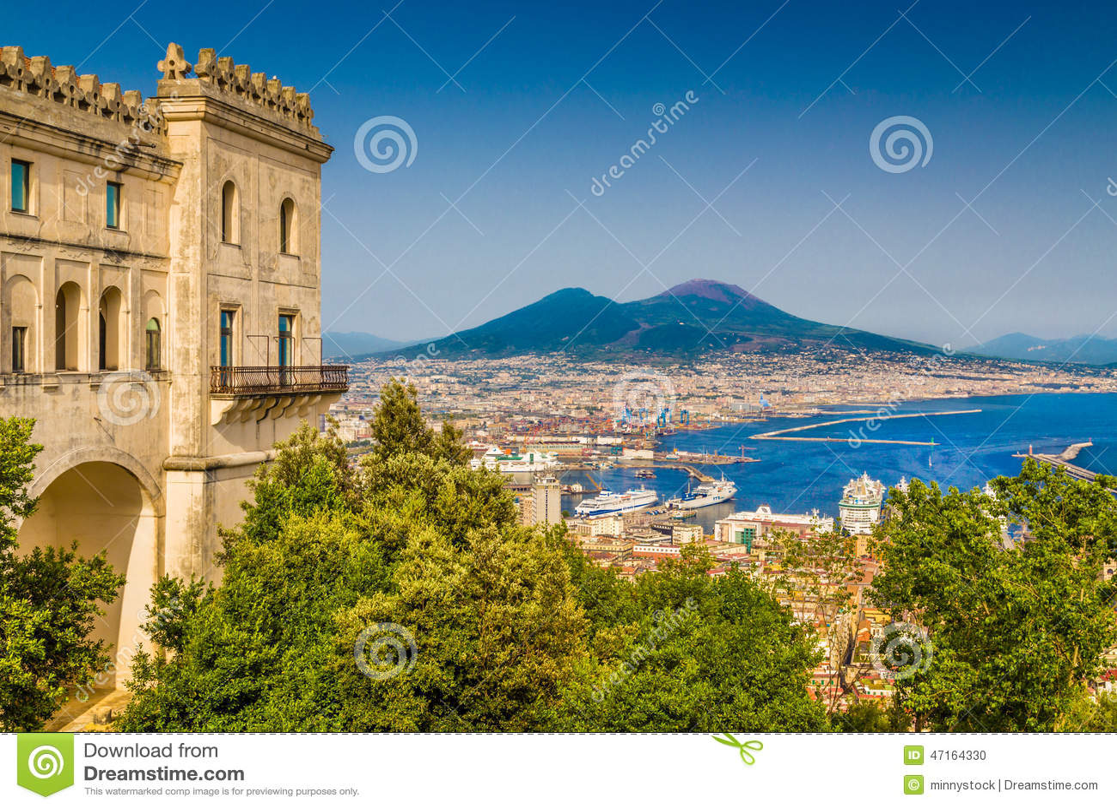Aerial view of Naples with Mt Vesuvius, Campania, Italy
